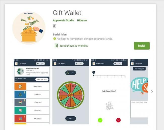 Aplikasi Gift Wallet