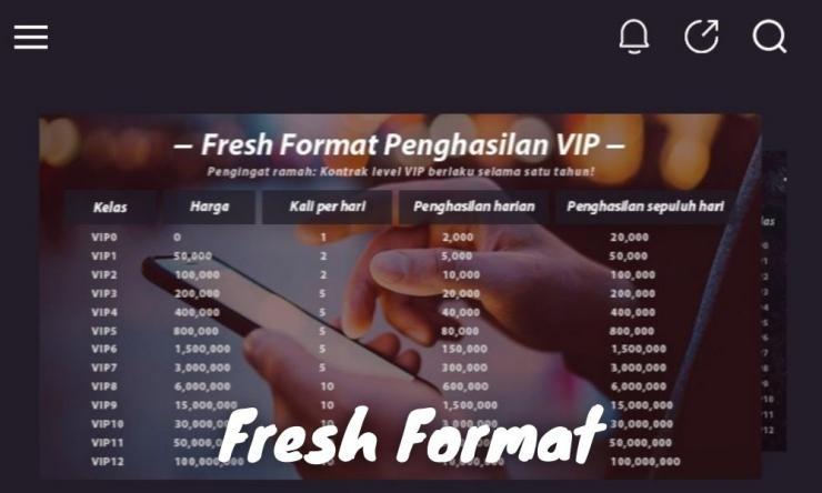 Aplikasi Fresh Format Penghasil Uang Dengan Bonus Harian