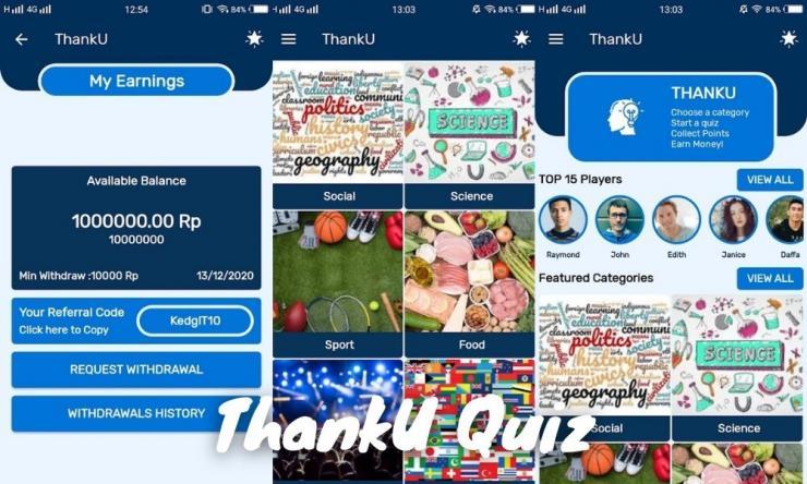 Aplikasi Thanku Quiz Penghasil Uang Dengan Jawab Soal Quiz