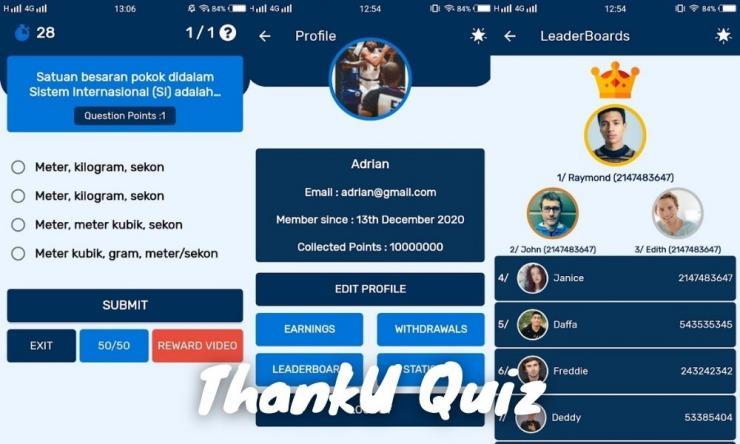 Aplikasi Thanku Quiz Penghasil Uang