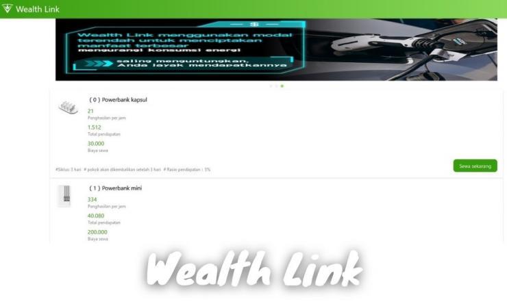 Aplikasi Wealth Link Apk Penghasil Uang Dengan Menyewa Barang